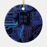 Cool Circuit Board Computer Blue Purple Christmas Tree Ornament