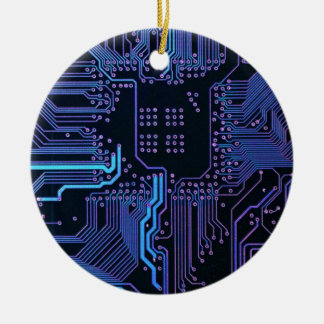 Cool Circuit Board Computer Blue Purple Double-Sided Ceramic Round Christmas Ornament