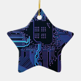 Cool Circuit Board Computer Blue Purple Double-Sided Star Ceramic Christmas Ornament