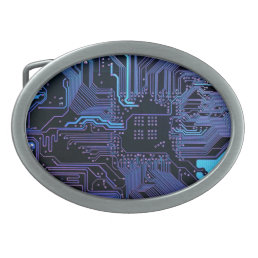 Cool Circuit Board Computer Blue Purple Oval Belt Buckle