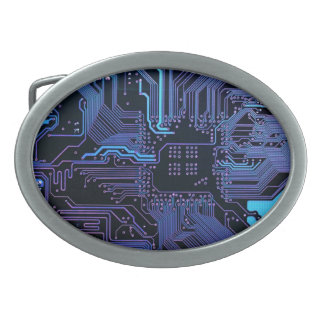 Cool Circuit Board Computer Blue Purple Oval Belt Buckle