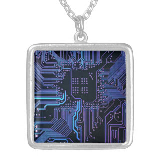 Cool Circuit Board Computer Blue Purple Silver Plated Necklace