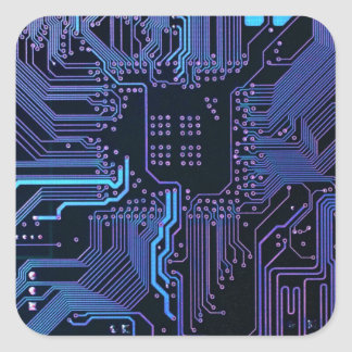 Cool Circuit Board Computer Blue Purple Square Sticker