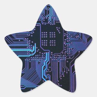 Cool Circuit Board Computer Blue Purple Star Sticker