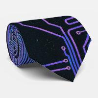 Cool Circuit Board Computer Blue Purple Tie
