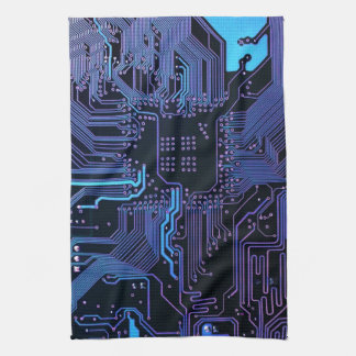 Cool Circuit Board Computer Blue Purple Towel
