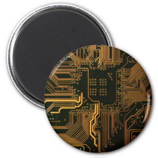 Cool Circuit Board Computer copper and black 2 Inch Round Magnet