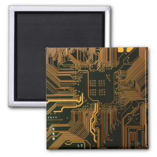 Cool Circuit Board Computer copper and black 2 Inch Square Magnet