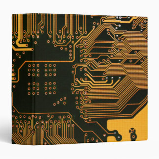 Cool Circuit Board Computer copper and black 3 Ring Binder