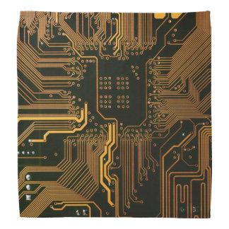 Cool Circuit Board Computer copper and black Bandana