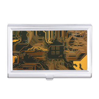Cool Circuit Board Computer copper and black Business Card Holder