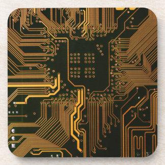 Cool Circuit Board Computer copper and black Coaster