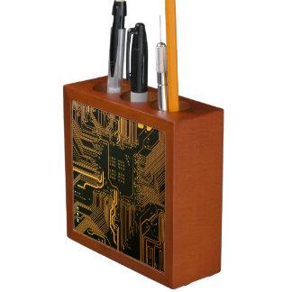 Cool Circuit Board Computer copper and black Desk Organizer