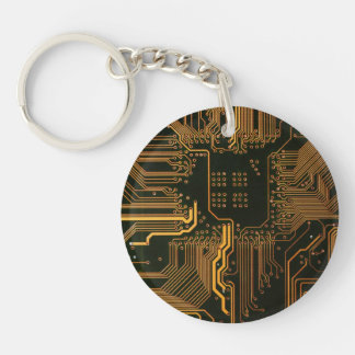 Cool Circuit Board Computer copper and black Double-Sided Round Acrylic Keychain