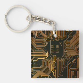 Cool Circuit Board Computer copper and black Double-Sided Square Acrylic Keychain