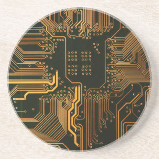 Cool Circuit Board Computer copper and black Drink Coaster