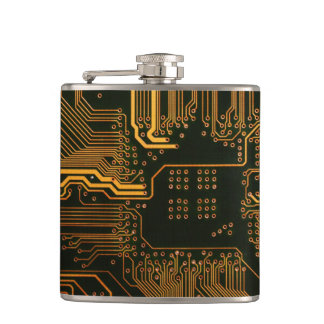 Cool Circuit Board Computer copper and black Flask