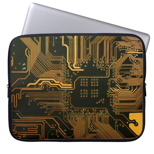 Cool Circuit Board Computer copper and black Laptop Sleeve