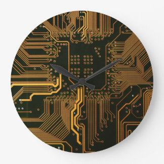 Cool Circuit Board Computer copper and black Large Clock