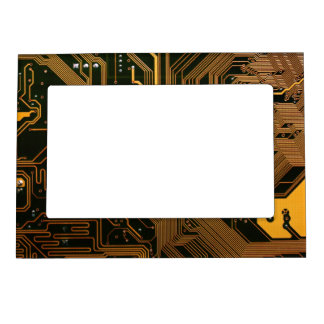 Cool Circuit Board Computer copper and black Magnetic Photo Frame