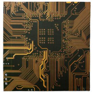 Cool Circuit Board Computer copper and black Napkin