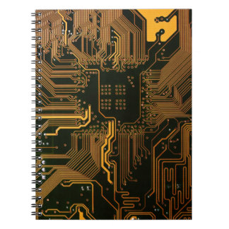Cool Circuit Board Computer copper and black Notebook