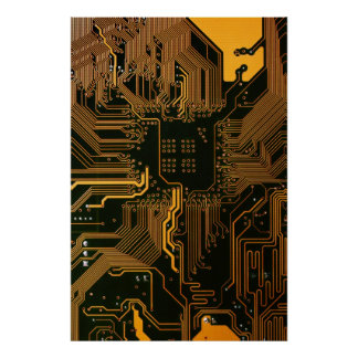 Cool Circuit Board Computer copper and black Poster