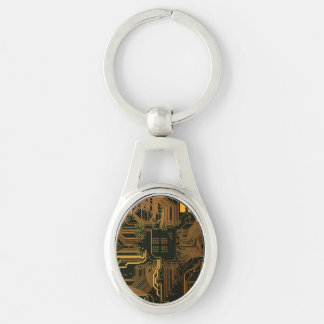 Cool Circuit Board Computer copper and black Silver-Colored Oval Metal Keychain