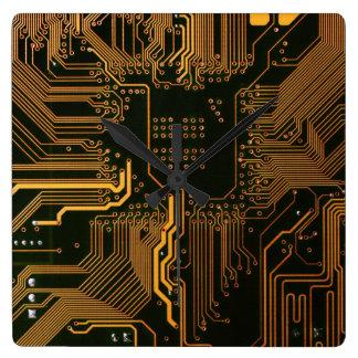 Cool Circuit Board Computer copper and black Square Wall Clock