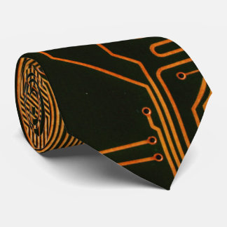 Cool Circuit Board Computer copper and black Tie