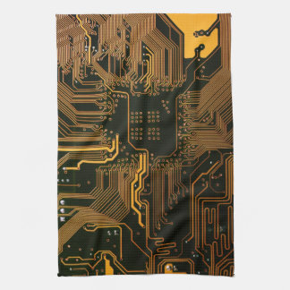 Cool Circuit Board Computer copper and black Towels