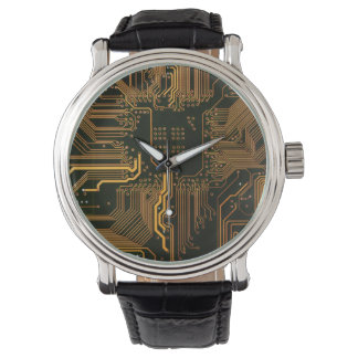 Cool Circuit Board Computer copper and black Wristwatch