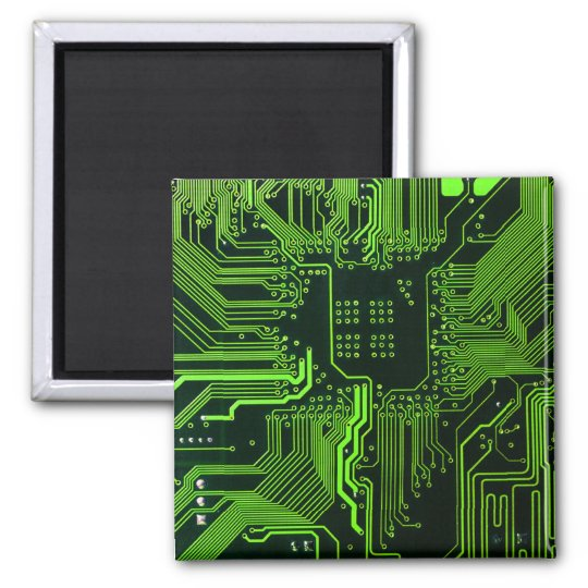 Cool Circuit Board Computer Green 2 Inch Square Magnet