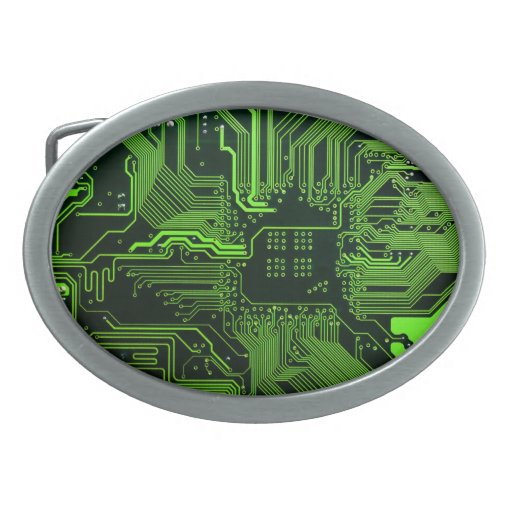 Cool Circuit Board Computer Green Belt Buckles