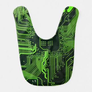 Cool Circuit Board Computer Green Bib