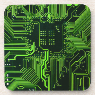 Cool Circuit Board Computer Green Coaster