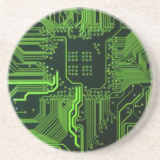 Cool Circuit Board Computer Green Drink Coaster