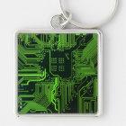 Cool Circuit Board Computer Green Keychain