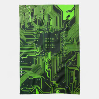 Cool Circuit Board Computer Green Kitchen Towel