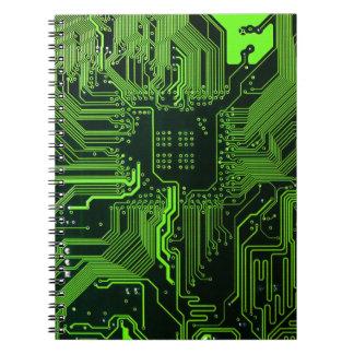 Cool Circuit Board Computer Green Notebook