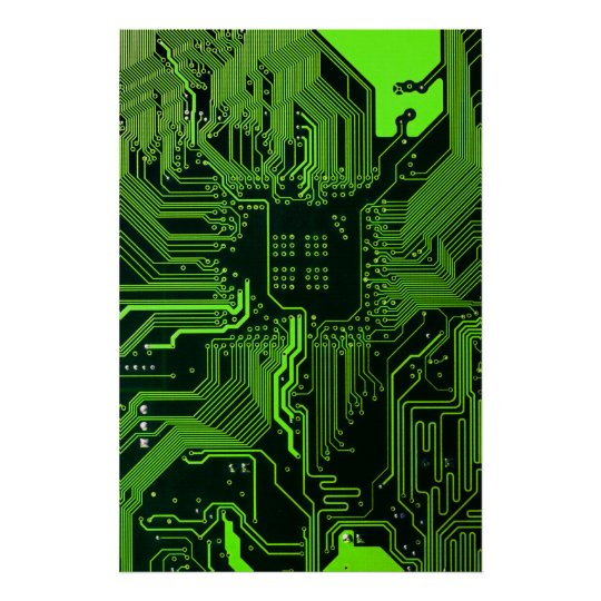 Cool Circuit Board Computer Green Poster