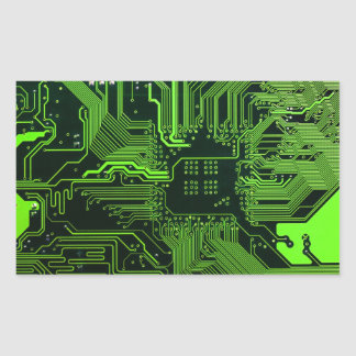 Cool Circuit Board Computer Green Rectangular Sticker