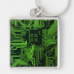 Cool Circuit Board Computer Green Silver-Colored Square Keychain