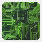 Cool Circuit Board Computer Green Square Sticker