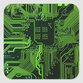 Cool Circuit Board Computer Green Square Sticker