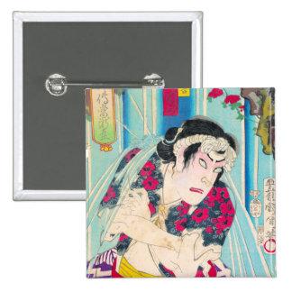 Cool clasic oriental japanese old warrior art pin
