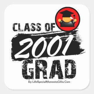 Cool Class of 2001 Grad Square Stickers
