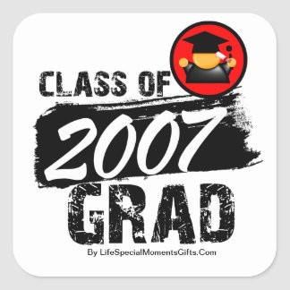Cool Class of 2007 Grad Square Stickers