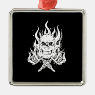 Cool Classic Elegant Black White Skull tattoo Metal Ornament