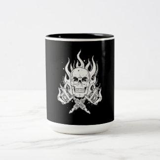 Cool Classic Elegant Black White Skull tattoo Two-Tone Coffee Mug